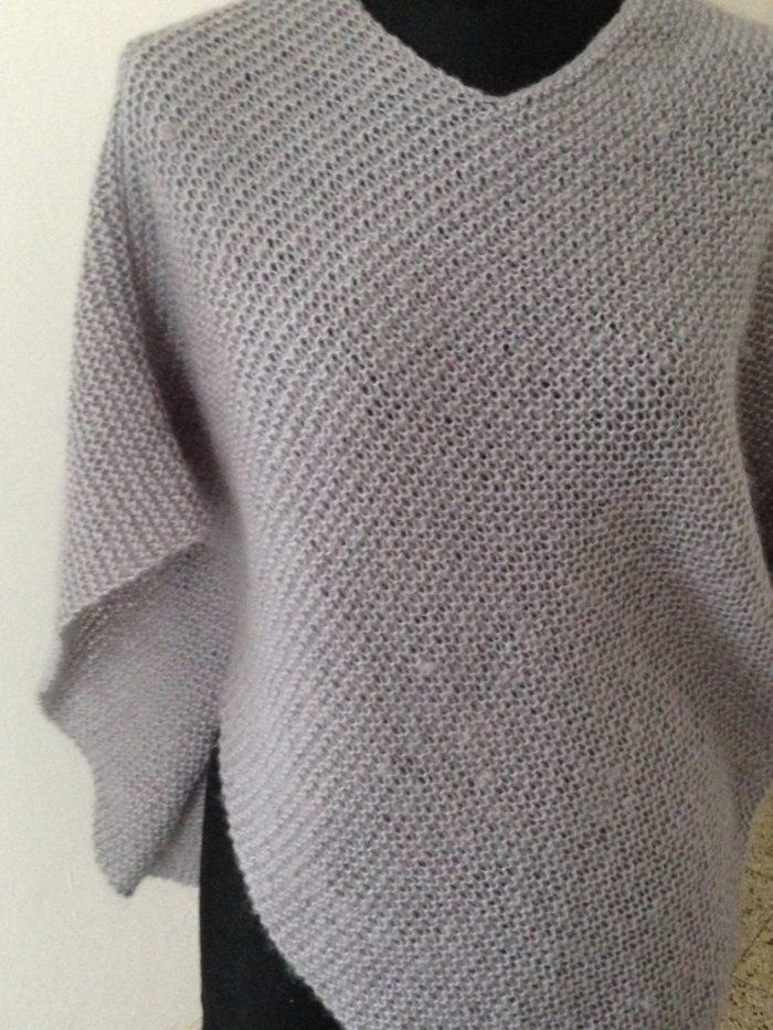 poncho grigio in lana mohair