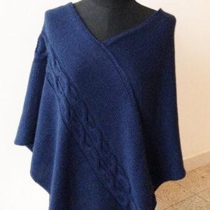 poncho blu in lana
